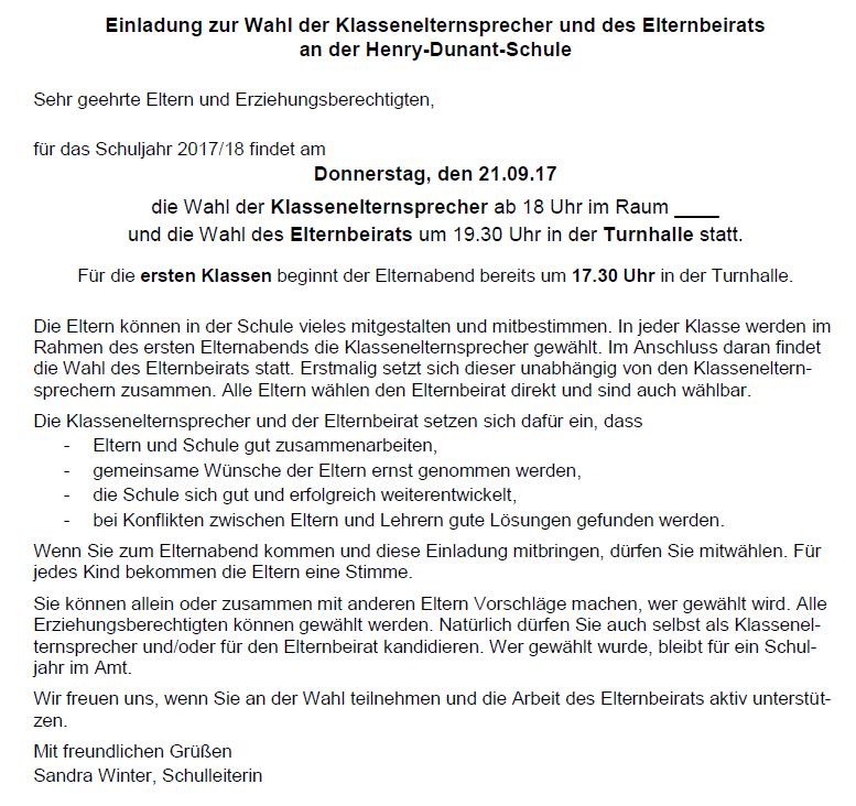 Einladung zur Klassenelternsprecherwahl 2017/18